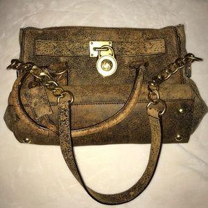 Micheal Kors Hamilton Mocha Brown Leather Satchel
